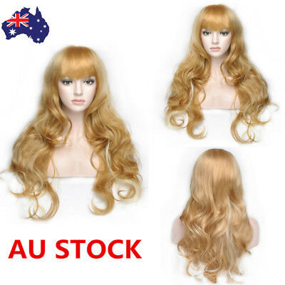 AU Women 65cm Blonde Middle Shoulder Long Curly Anime Cosplay Wavy Wig+Wig Cap