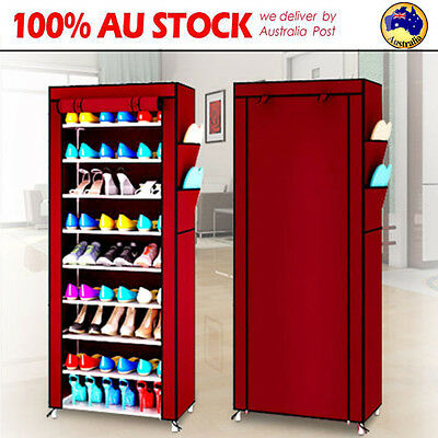 9 Tier Shoes Cabinet Storage Organizer Shoe Rack Portable Wardrobe W/ Cover AU