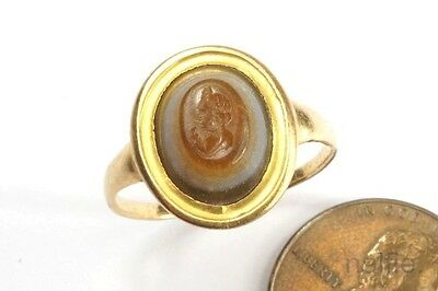 ANCIENT ROMAN 22K GOLD HARDSTONE INTAGLIO ANTINOUS SIGNET RING c150 AD