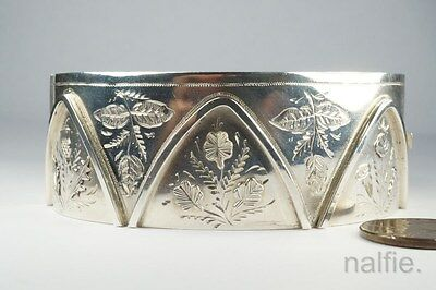 LOVELY ANTIQUE VICTORIAN SILVER ENGLISH & FLOWERS BANGLE BRACELET c1883