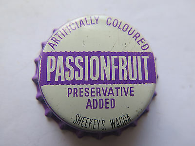 CROWN SEAL BOTTLE CAP PASSIONFRUIT by SHEEKEYS WAGGA NSW AUSTRALIA UNUSED CONDIT