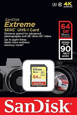 SanDisk 64GB Class 10 Extreme UHS-I U3 SD 90MB/s SDXC Memory Card