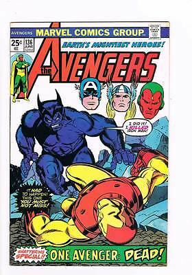 Avengers # 136 Iron Man: D.O.A.! One Avenger Dead grade 9.2 scarce book !!