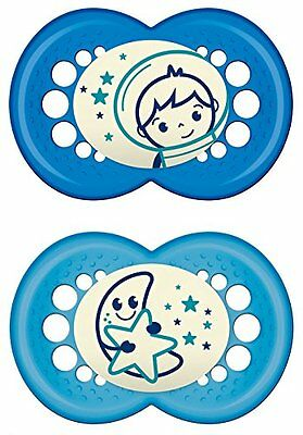 MAM 110511 Night Latex Soothers for Boys Age 6 - 16 Months Twin Pack Assorted Co