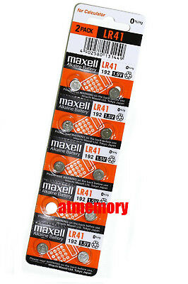 Maxell LR41 192 AG3 392 1.5v Alkaline Button Coin Cell Batteries 10pcs