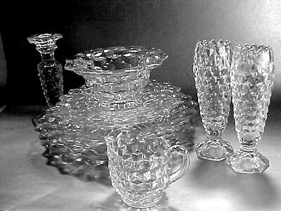 11 piece Lot of Fostoria American Glass Crystal Vases, Mayo, Plates, Candlestick