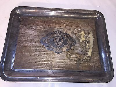 Silver Serving Tray - Very Tarnished