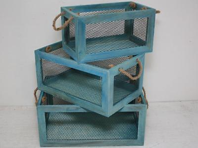 Set/3 Nested Lorette French Crates NEW Crates