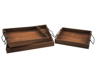 Set/3 Nested Lightweight Wooden Trays w/Distressed Handles  NEW Crates