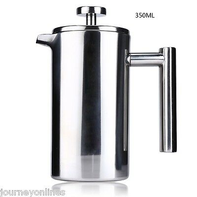 350ML Double Wall Cafetiere Filter Stainless Steel Coffee Maker Plunger For Home