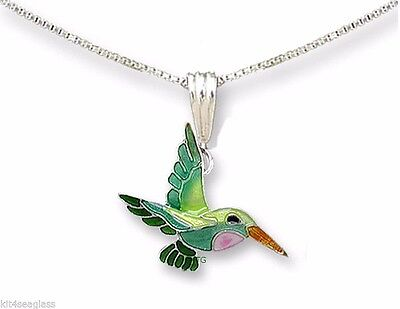 "Zarah LITTLE HUMMINGBIRD Pendant NECKLACE Silver Plated Enamel 18"" Chain + Box"