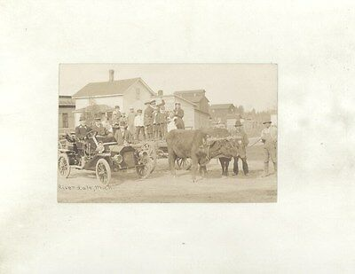 1908 Reo Real Photo Postcard Riverdale Michigan Leather License Plate ww7116