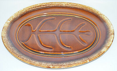 """Hull Pottery Brown Drip Large Serving Platter 14"""" Oval Ribbed Made in USA"""