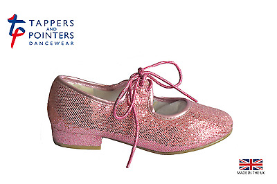 Girls Pink Glitter Low Heel Tap Shoes With Toe Taps Junior 6 - Adult 2 (New)