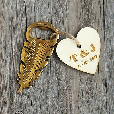 Personalised feather bottle opener wedding favors gifts with wooden hang tag g