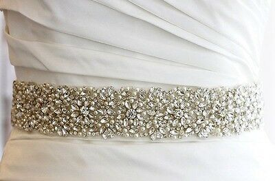 "Wedding Sash Belt - Crystal Pearl Wedding Sash Belt = 17"" long applique trim"