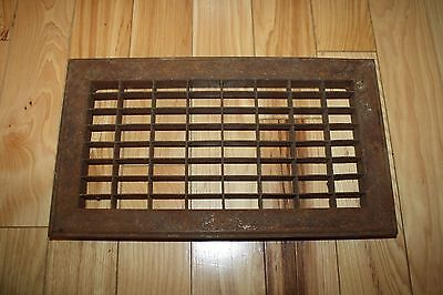 "RUSTY Cast Iron Grate Floor Wall Heat Return Register Vent 14""L x 8""W FREE SHIP"
