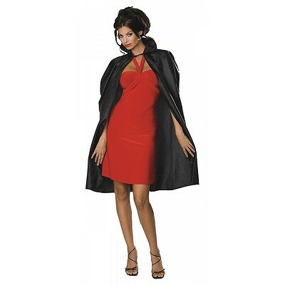 "Lightweight Black Costume Cape 45"" Long with Collar Halloween Adult Fancy Dress"