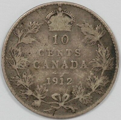1912 Canada George V Silver 10 Cent Coin