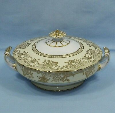 Noritake Golden Flower Pattern 2 Handle Lidded Tureen