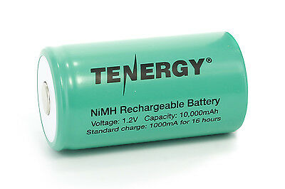 Tenergy D Size 10000mAh NiMH Flat Top Rechargeable Battery - No Tabs