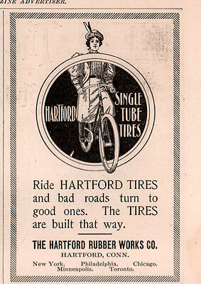 1896 B Ad  Hartford Rubber Works Co Single Tube Bicycle Tires