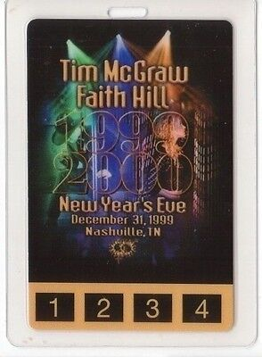 TIM McGRAW PASS faith hill Laminated Backstage Pass 1999 collectible