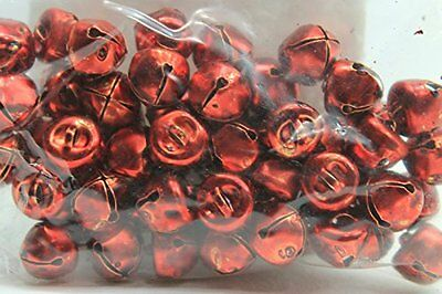 Pack of 2 50 Handmade Small Craft Jingle Bells Red Crafting Pieces Multi-Purpose