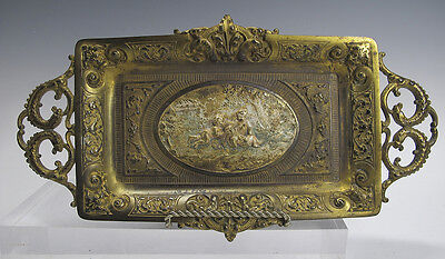 Antique Bradley & Hubbard Gilt Brass Cherub Relief Dragon Handle Ornate Tray yqz