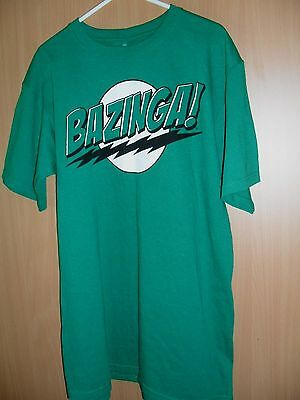 Big Bang Theory Tee Shirt BAZINGA Green Men's size Medium NEW Seldon Cooper