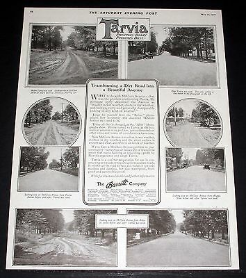 1919 OLD MAGAZINE PRINT AD, TARVIA SAVES ROADS, McCLURE AVENUE IN PEORIA, ILL!