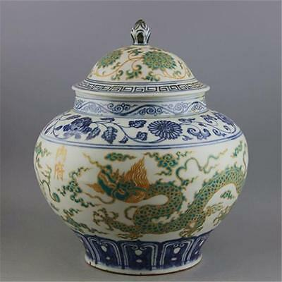 A Great Chnese Antique Blue&White  Green Glazed Porcelain Hat-Covered Jar