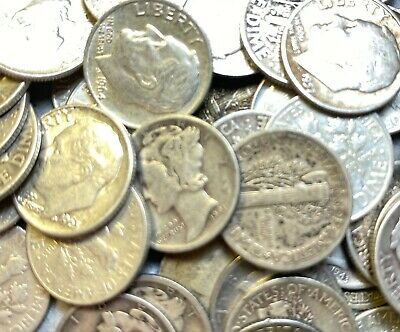 Pre 1964 90% Silver US Dimes Barber, Mercury & Roosevelt Lot of 3