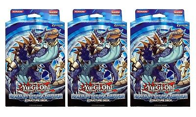 Yu-Gi-Oh Realm Of The Sea Emperor Lot of 3 Structure Decks of 40 Cards