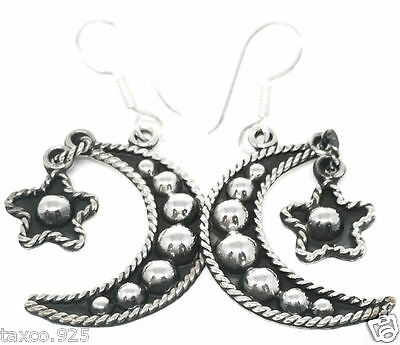 Taxco Mexican 925 Sterling Silver Moon Star Beaded Bead Earrings Mexico