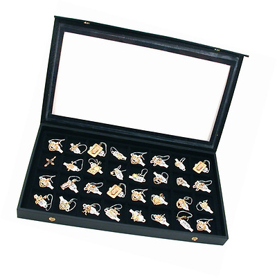 32 Earring Jewelry Display Case Clear Top Black New