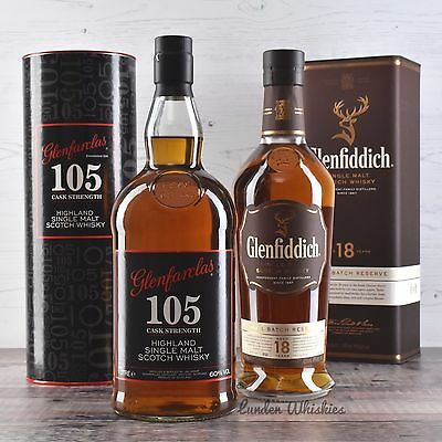 Whisky Bundle Glenfiddich 18yr & Glenfarclas 105 Cask Strength 1000ml Special!