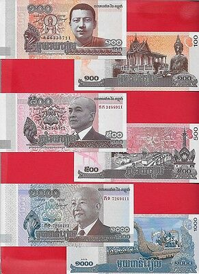 CAMBODIA -- 100 500 1k riel - 2012/14 Set of 3 Uncirculated
