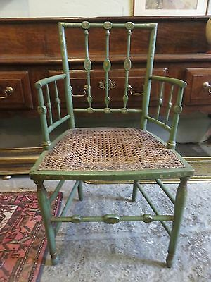 Original Georgian Green Floral Hand Painted Stick Back Country Arm Chair