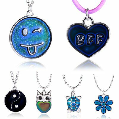NEW Fashion Flower YinYang Star Heart Color Change Thermo Mood Pendant Necklace