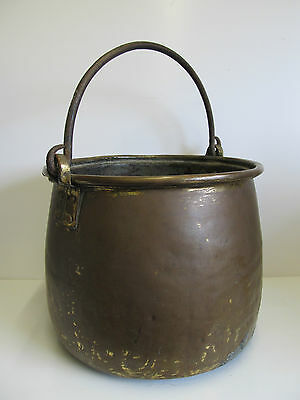 Heavy Large Vintage Brass Jam Pot Log Bin Planter Real Age