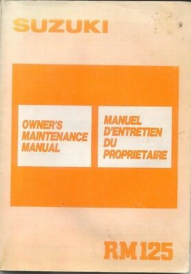 Suzuki RM125 original Owners Maintenance Manual 1988 No. 99011