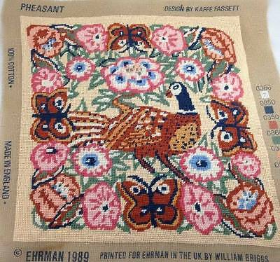 Kaffe Fassett Ehrman Needlepoint Tapestry Pheasant Completed Floral Butterfly