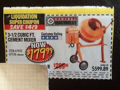 HARBOR FREIGHT COUPON 2-1/2 Cubic Ft  Cement Mixer Exp  4/30/17 Save $419