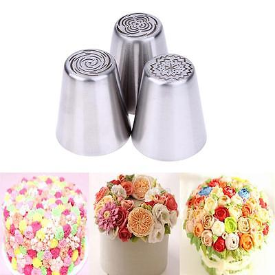 3Pcs/Set Russian Tulip Flower Icing Piping Nozzles Cake Decor Tips Baking Tools