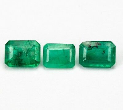 EMERALD BERYL NATURAL MINED UNTREATED x 3 TOTAL 1.85Ct  MF1927