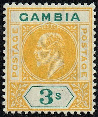 Gambia 1909 3s. yellow & green, MH (SG#85)
