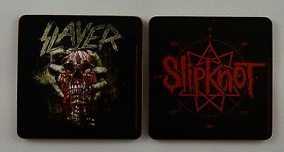 Pair of Iconic Metal/Rock Band Drinks Coasters. Slipknot, Slayer. NEW