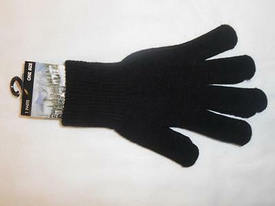NEW Magic Winter Warm BLACK THERMAL GLOVES One Size Winter Glove