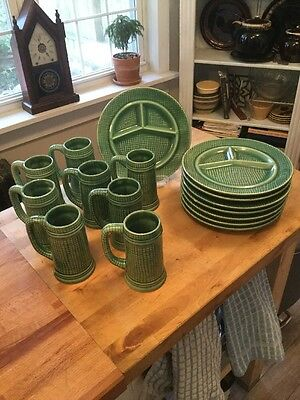 MidCentury Hand Dripped Glaze (16) Pieces Divided Grill Plates Steins Japan ACI